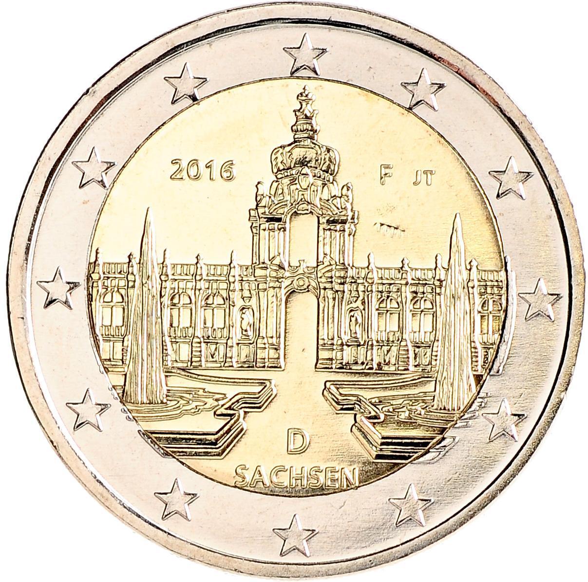2 евро 2016 Германия - Саксония (Дворец Цвингер, Дрезден)