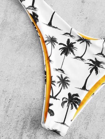 купальник раздельный бандо с лямками белый с пальмами 5