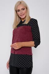 """<p>Любимая всеми блузка """"Мила"""" в новом исполнении. Сочетание двух тканей придаст изюминку Вашему образу. Рукав 3/4. (Длины: 44-64см; 46-65см; 48-66см; 50-67см)</p>"""