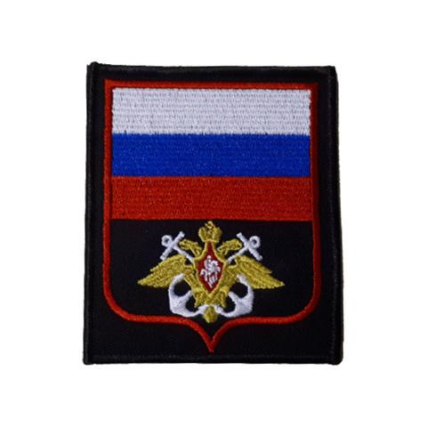 Шеврон нарукавный ВМФ (черный,белый якорь,красный кант)