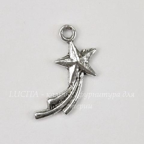 "Подвеска ""Падающая звезда"" 17х10 мм (цвет - античное серебро)"
