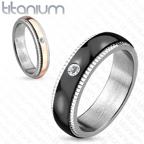 Узкое парное кольцо для влюблённых мужчин и женщин из титана с фионитом SPIKES R-TI-4403