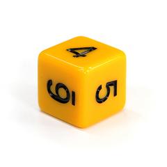 Куб D6: Желтый 16мм с цифрами