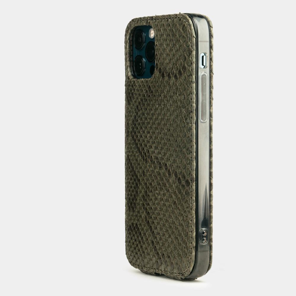 Чехол для iPhone 12 Pro Max из натуральной кожи питона, зеленого цвета