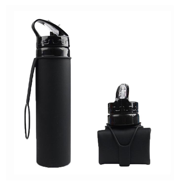 Бутылка силиконовая скручивающаяся 600 мл. черная