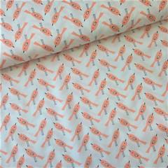 Ткань хлопковая птички оранжевые на белом