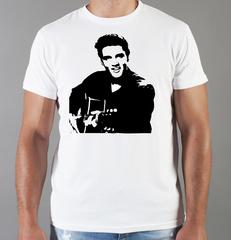 Футболка с принтом Элвис Пресли ( Elvis Presley) белая 004