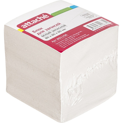 Блок для записей Attache 80x80x80 мм белый (плотность 65 г/кв.м)