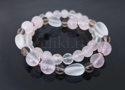 браслеты из камня розовый кварц и раухтопаз_фото