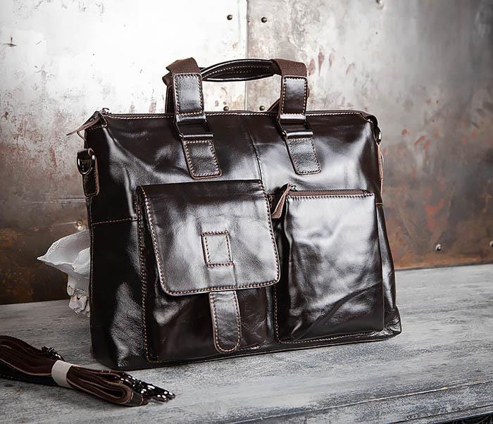BAG457-2 Мужская кожаная сумка портфель с ремнем на плечо (под А4)