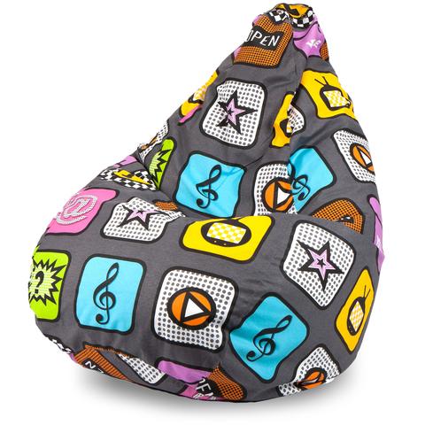 Пуффбери Внешний чехол Кресло-мешок груша  XL, Жаккард Плей