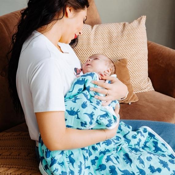 Мама с ребёнком Dino World&Adam Stork одеяло муслин