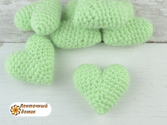 Сердечко вязаное нежная мята (ручная работа)