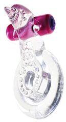 Прозрачное эрекционное кольцо с вибрацией и дельфинчиком