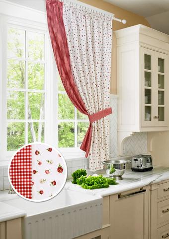 Готовая хлопковая штора для кухни с подхватом Карен красный