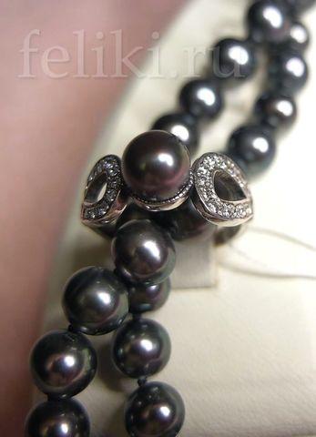 бусы из черного жемчуга и кольцо кс-7214