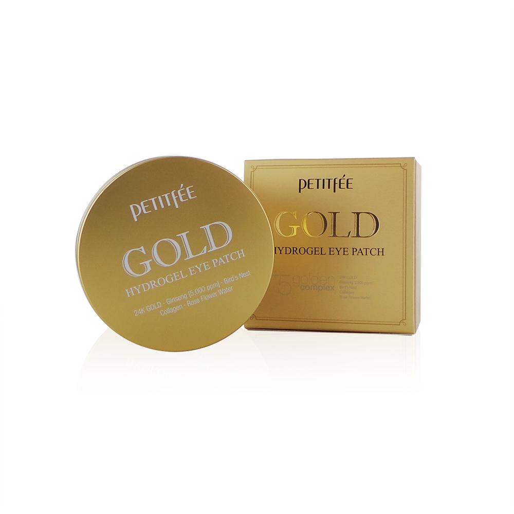 Гидрогелевые патчи с экстрактом золота PETITFEE GOLD HYDROGEL EYE PATCH +5 Golden Complex (60шт)