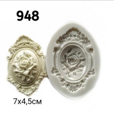 Молд Накладка с розой 7х4,5см, Арт.PO-0948, силикон
