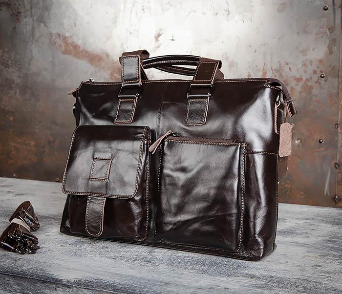 BAG457-2 Мужская кожаная сумка портфель с ремнем на плечо (под А4) фото 03