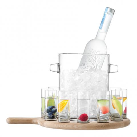 Набор из ведёрка для льда и 12 стопок на подставке Paddle 38.5 см прозрачный, дуб