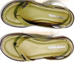 Летние шлепки босоножки женские кожаные Evromoda 454-411 Olive.