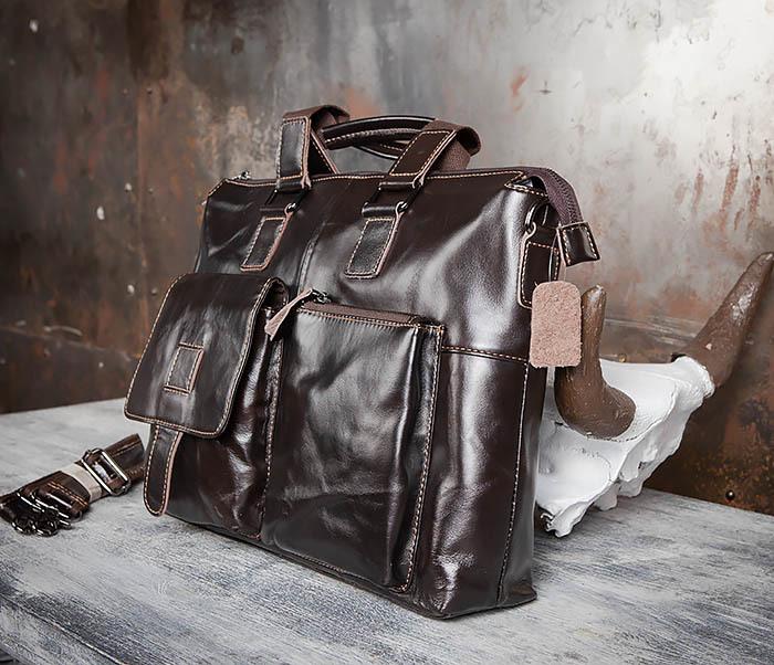 BAG457-2 Мужская кожаная сумка портфель с ремнем на плечо (под А4) фото 04