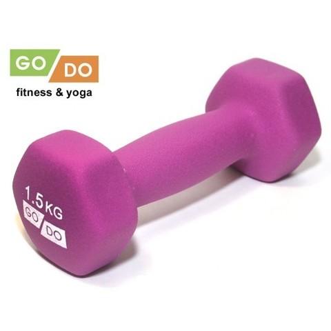 Гантель GO DO в виниловой матовой (неопреновой) оболочке.  Вес 1,5 кг. (Фиолетовый), пара (Спр) (к 36516 неопрен)