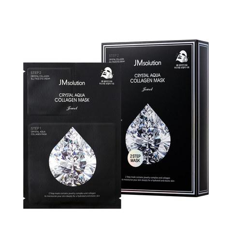 JMSolution Crystal Aqua Collagen Mask Jewel тканевая маска и крем для лица с 9 видами коллагена и 8 драгоценными камнями