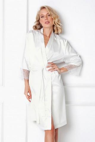Атласный халат женский белого цвета ARUELLE BRENNA