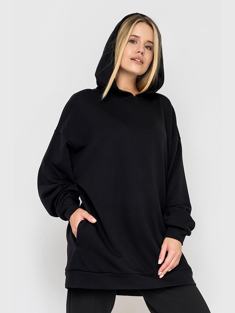 Худи трикотажное черное YOS от украинского бренда Your Own Style