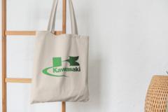 Сумка-шоппер с принтом Кавасаки (Kawasaki) бежевая 008