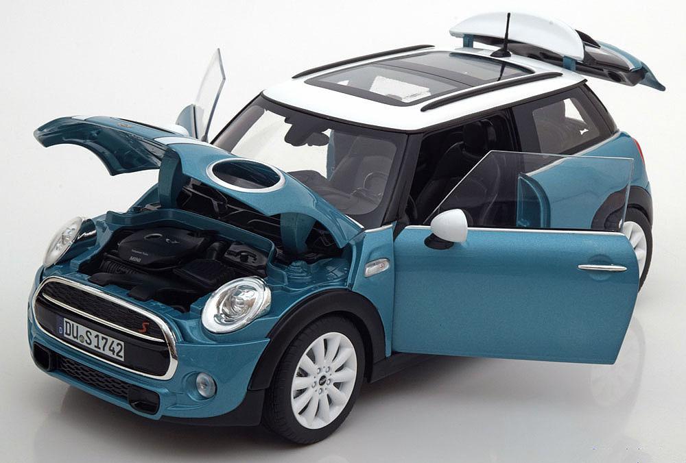 Коллекционная модель Mini Cooper S 2015 Electric Blue Metallic/White
