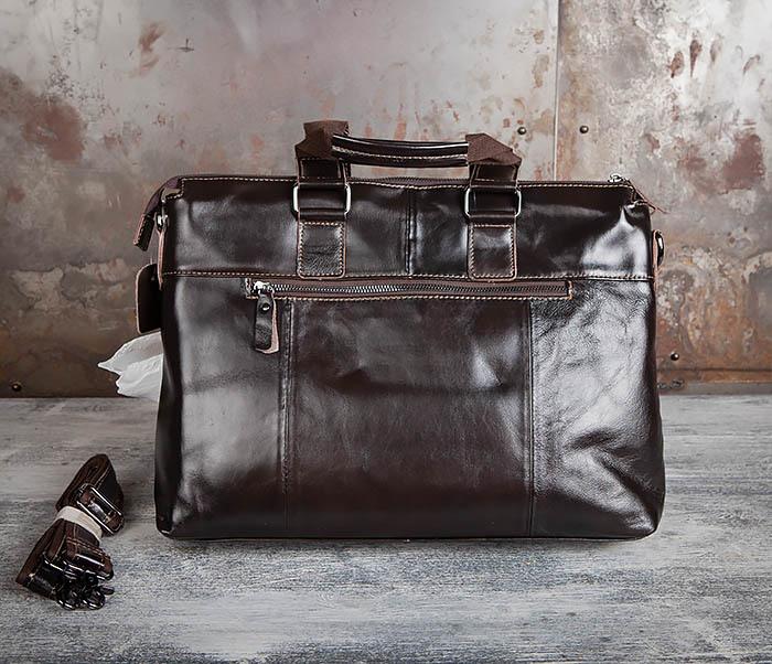 BAG457-2 Мужская кожаная сумка портфель с ремнем на плечо (под А4) фото 05