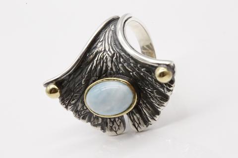 Кольцо с ларимаром из серебра 925