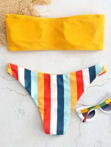 купальник бандо разlдельный желтый радуга Yellow-Rainbow 2