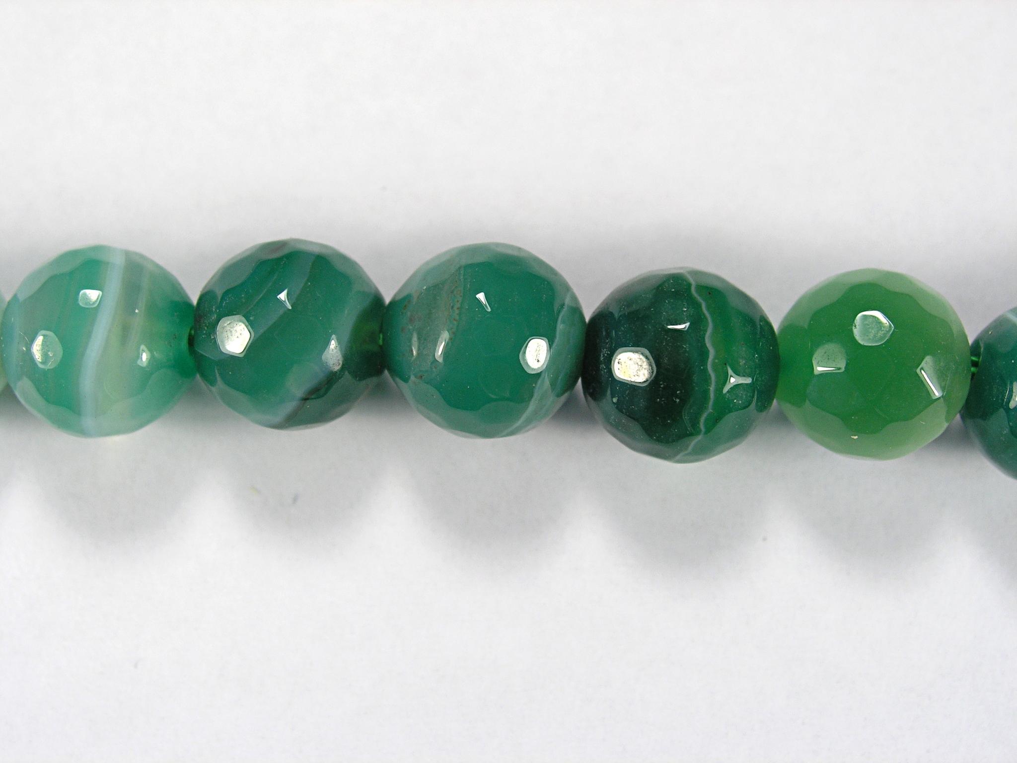 Бусина из агата зеленого (термо обработанного), фигурная, 10 мм (шар, граненая)