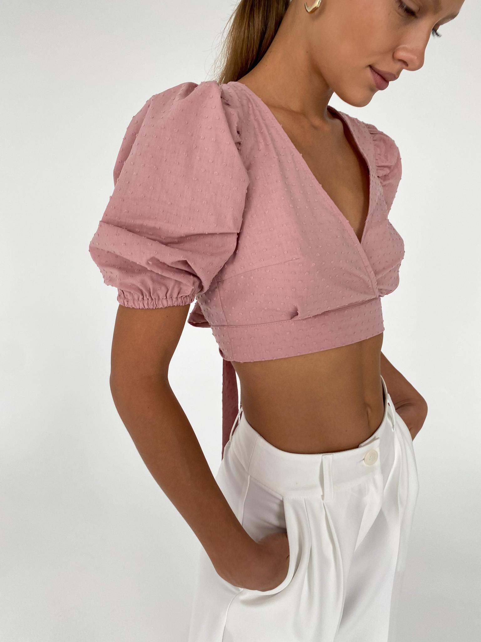 Блуза с завязками на спине (пудровый)