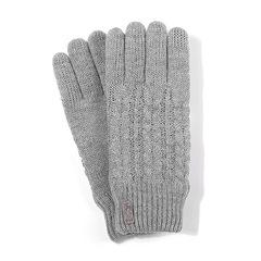 Теплые вязаные трикотажные перчатки с тачскрином, с флисом внутри  (Зимние перчатки для сенсорных экранов) серые