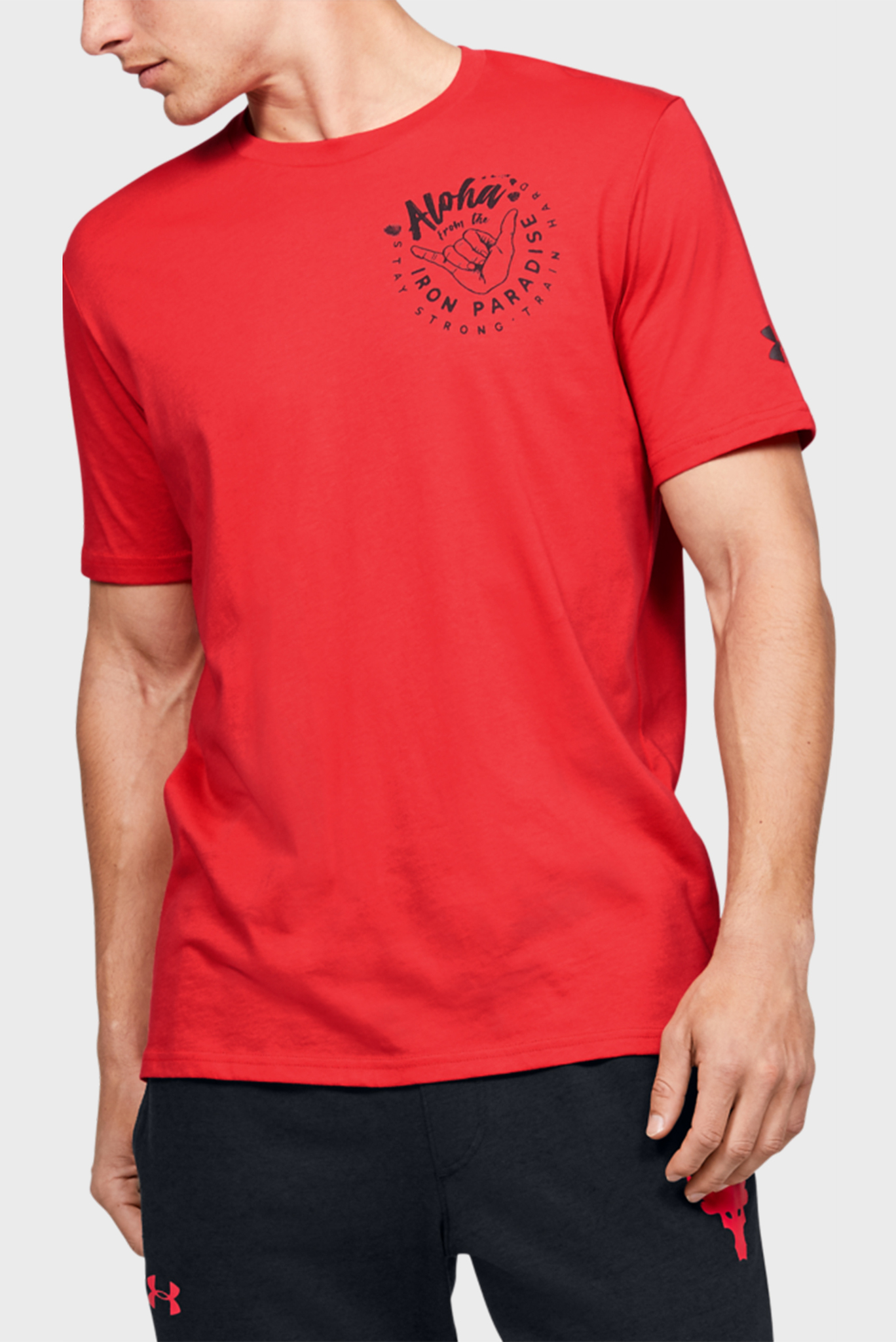 Мужская красная футболка Project Rock Iron Paradise SS Under Armour