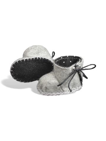 Сапожки из фетра на подкладке - Серый. Одежда для кукол, пупсов и мягких игрушек.