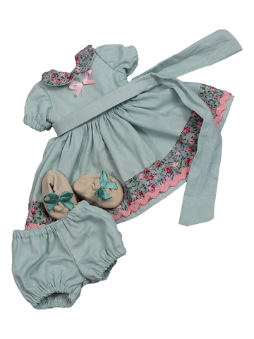 Комплект: платье, панталоны, тапочки и полоска на голову - Мята. Одежда для кукол, пупсов и мягких игрушек.