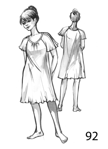 Сорочка женская с круглой горловиной и рукавом реглан