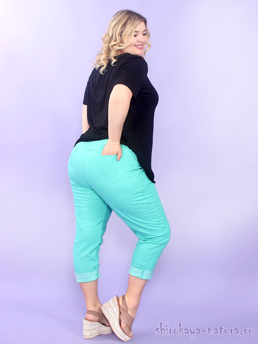 Женские летние джинсовые брюки больших размеров