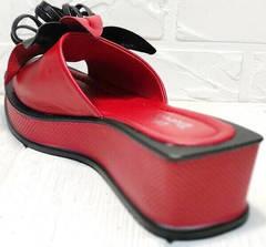 Шлёпки на платформе босоножки без каблука Derem 042-921-02 Red Black.