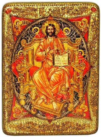 Инкрустированная икона Спас в Силах 29х21см на натуральном дереве в подарочной коробке