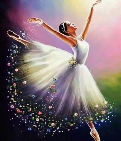 Алмазная Мозаика 50x65 Балерина в прыжке