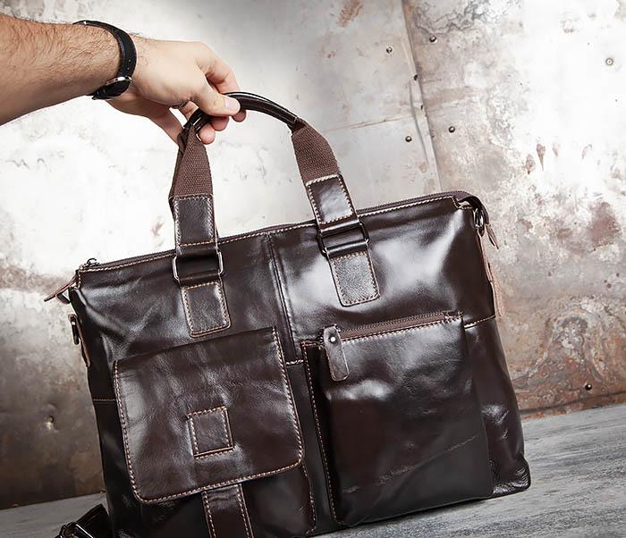 BAG457-2 Мужская кожаная сумка портфель с ремнем на плечо (под А4) фото 08