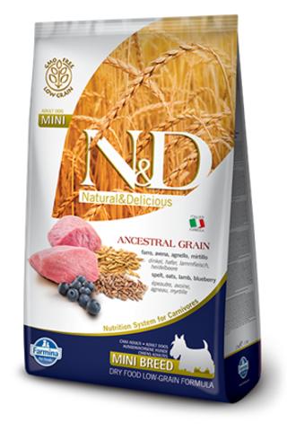 Сухой низкозерновой корм Farmina N&D Low Grain Lamb&Blueberry Puppy Mini