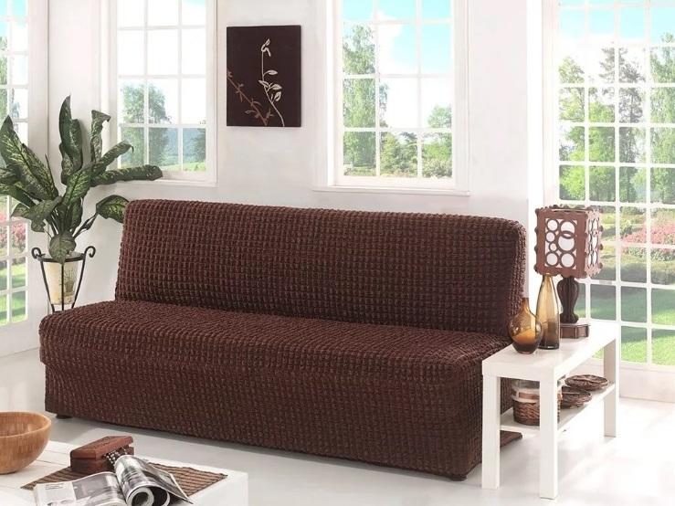Чехол на диван без подлокотников, коричневый