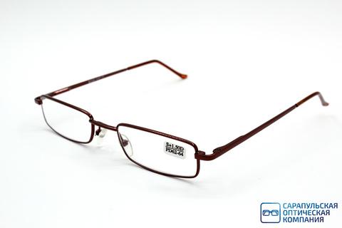 Очки готовые для зрения лектор  в узком металлическом футляре ELIFE 5070 BROWN (